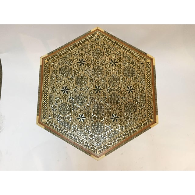 Brown Egyptian Octagonal Side Table For Sale - Image 8 of 9