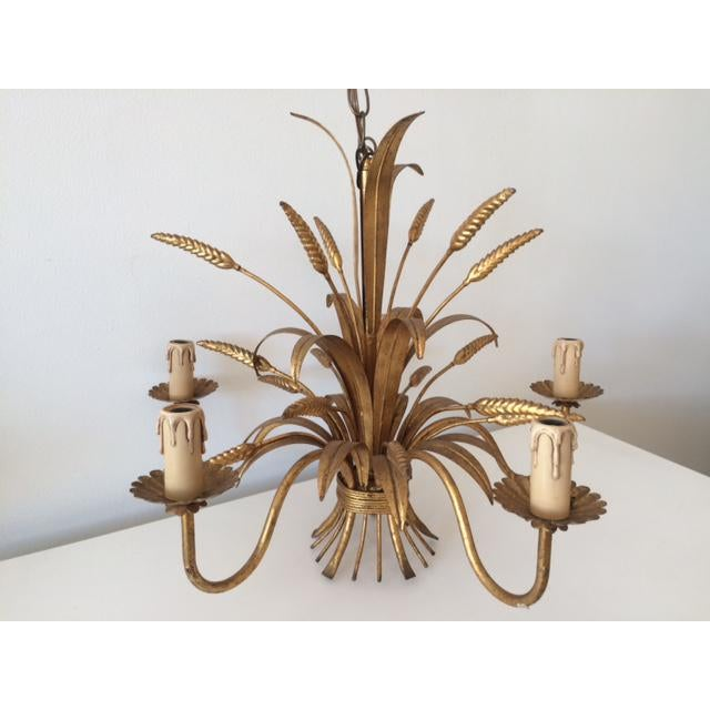 Vintage Hollywood Regency Gilt Wheat Metal Chandelier - Image 2 of 10