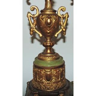 Antique Gilt Bronze Candelabra Lamp Gilt Bronze & Green Alabaster Candelabrum Candle Holders Preview
