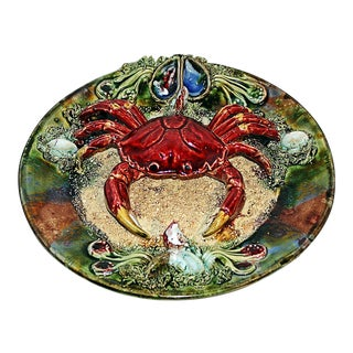 Palissey Style Portuguese Majolica Crab Platter For Sale