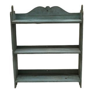 Early 20th Century Light Blue Shabby Chic 3-Tiered Shelf For Sale