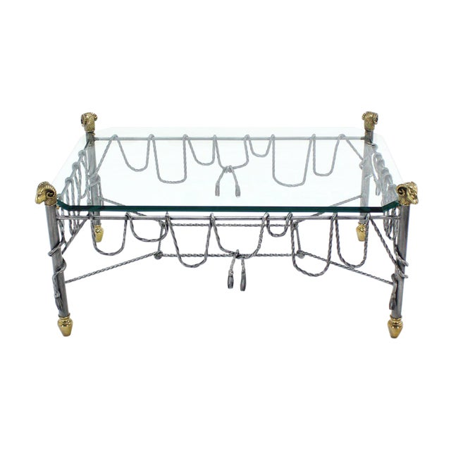 Ornate Wrought Iron Brass and Glass Coffee Table For Sale