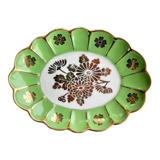 Vintage Green Flower Dish For Sale