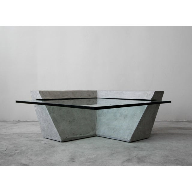 Contemporary Cantilevered Faux Concrete Plaster and Glass Coffee Table For Sale - Image 3 of 8