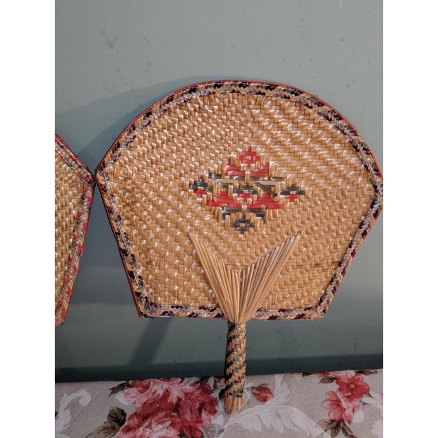 Vintage Thai Woven Straw Bamboo Hand Fans - a Pair For Sale - Image 4 of 9