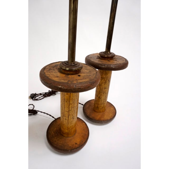Vintage Spools Converted to Table Lamps - A Pair - Image 6 of 6