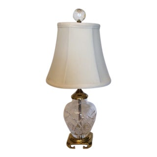 Waterford 'Alana' Boudoir Table Lamp With Asian Brass Base & Silk Shade For Sale