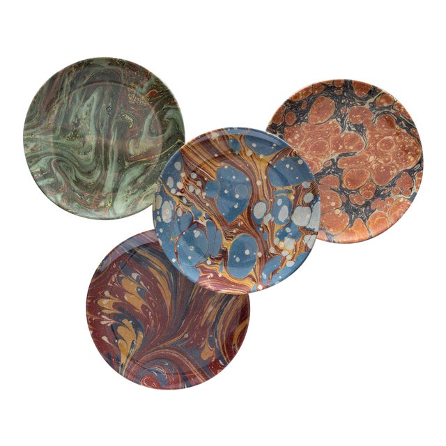 Library Marble Side Plates - Set of 4 For Sale