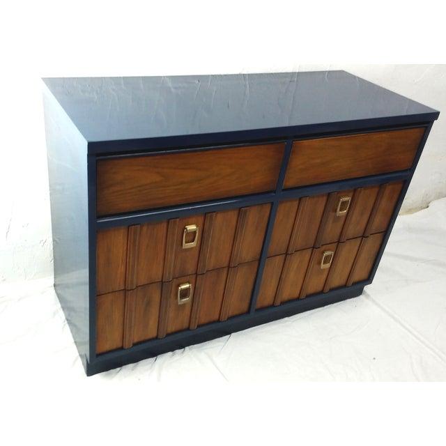 Mid-Century Mahogany & Blue Lacquered Dresser - Image 2 of 5