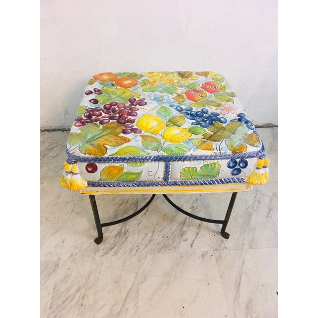 Italian Ceramic Garden Seat With Iron Base For Sale - Image 12 of 12