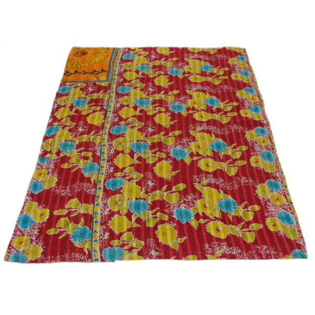 Vintage Primary Colorway Kantha Quilt - Image 2 of 3