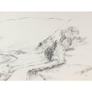 Jack Freeman California Country Road Drawing in Charcoal, 1987 For Sale