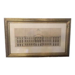 18th Century Original Pen and Ink Architectural Rendering of a Neoclassical Facade in a Gilt Frame. For Sale