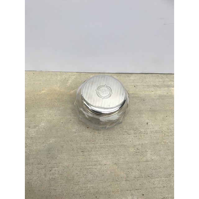 Antique Collectible Crystal Powder Jar /Candy Jar /Container With Sterling Lid Top For Sale - Image 13 of 13