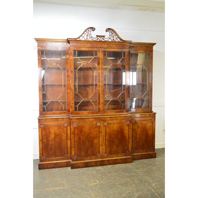 Trosby George III Style English Yew Wood 4 Door Breakfront - Image 10 of 12