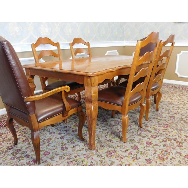 Ethan Allen Legacy Collection Dining Room Table 2 Leaves w/ 6 Chairs ...