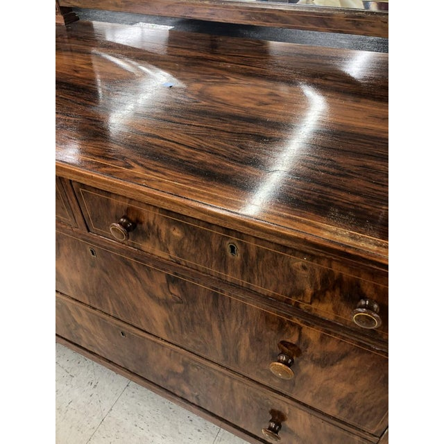 Art Deco Early 1900s Mahogany Burlwood Hepplewhite Dresser Storage Credenza Cabinet With Hand Turned Wooden Knobs For Sale - Image 3 of 7
