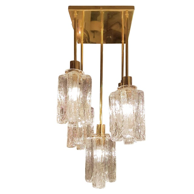 Hand made clear textured Murano glass and polished brass, 5 lights flush mount ceiling light, by Kalmar, Austria 1960s....