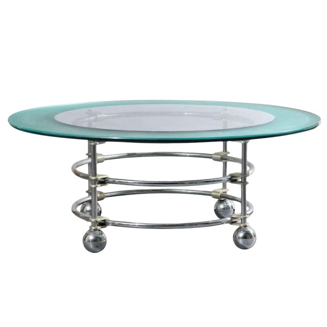 Jay Spectre for Century Chrome and Glass Cocktail Table For Sale