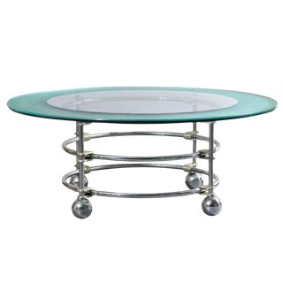 Jay Spectre for Century Chrome and Glass Coffee Table For Sale