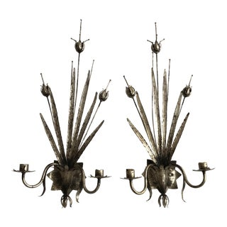 Italian Silvered Tole Wall Sconces - a Pair For Sale