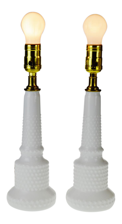 Mid Century Nos Natalie Hobnail Milk Glass Table Lamps A Pair