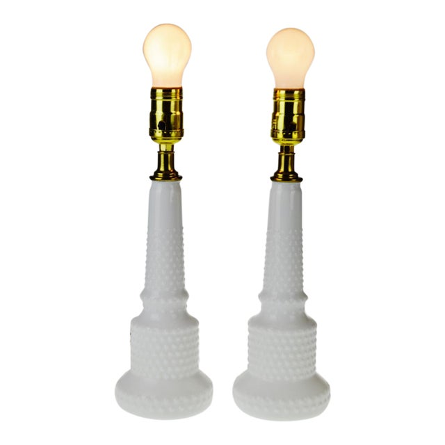 Mid century nos natalie hobnail milk glass table lamps a pair mid century nos natalie hobnail milk glass table lamps a pair mozeypictures Choice Image