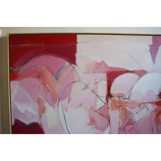 Outstanding abstract oil painting in shades of pink with a light touch of green and blue. Framed in a plain natural wood...