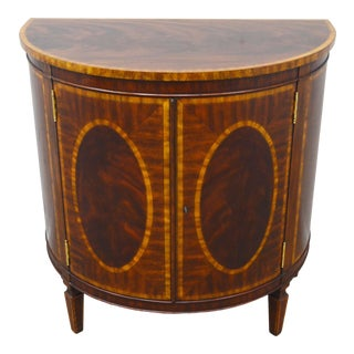 Maitland Smith Mahogany Inlaid Demilune Commode Server For Sale