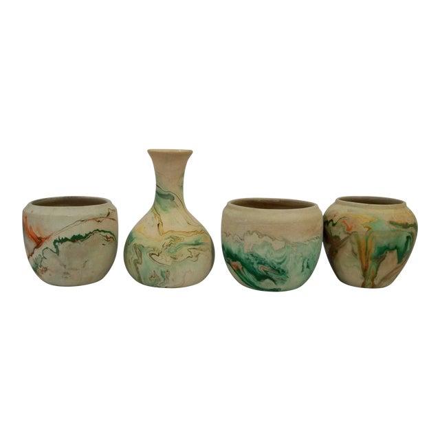Nemadji Vintage Pottery in Orange - Set of 4 - Image 1 of 8