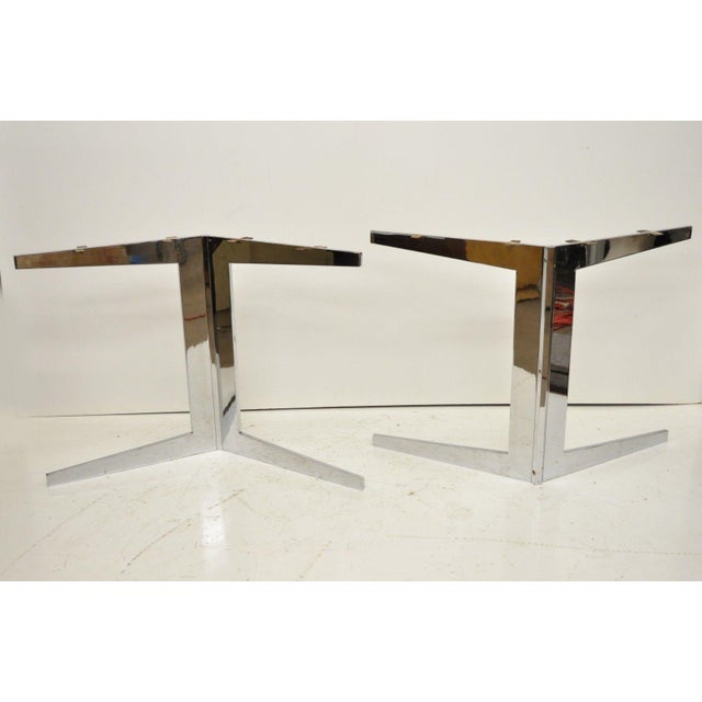 Mid century modern chrome plated steel double star pedestal dining table bases in the Florence Knoll style (2 Pieces)....