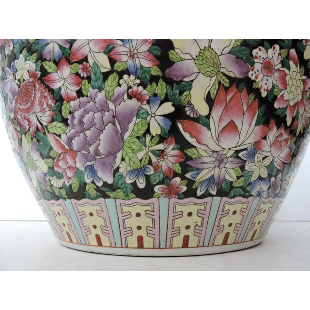 Mid 20th Century Vintage Chinese Porcelain 'Famille Noire' Floral Gold Fish Bowl/Planter For Sale - Image 5 of 7