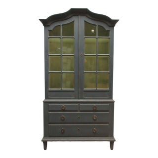 1930s Vintage Swedish Glass Top Cabinet For Sale