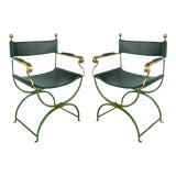Image of Brass Director's Chairs by Valenti, Spain- 4 Pairs Available For Sale