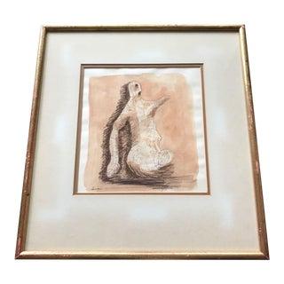 1950s Vintage Modern Framed Sepia Painting For Sale