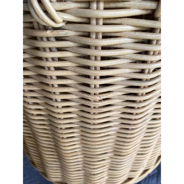 Almond Vintage Coastal Wicker Elephant Basket For Sale - Image 8 of 13