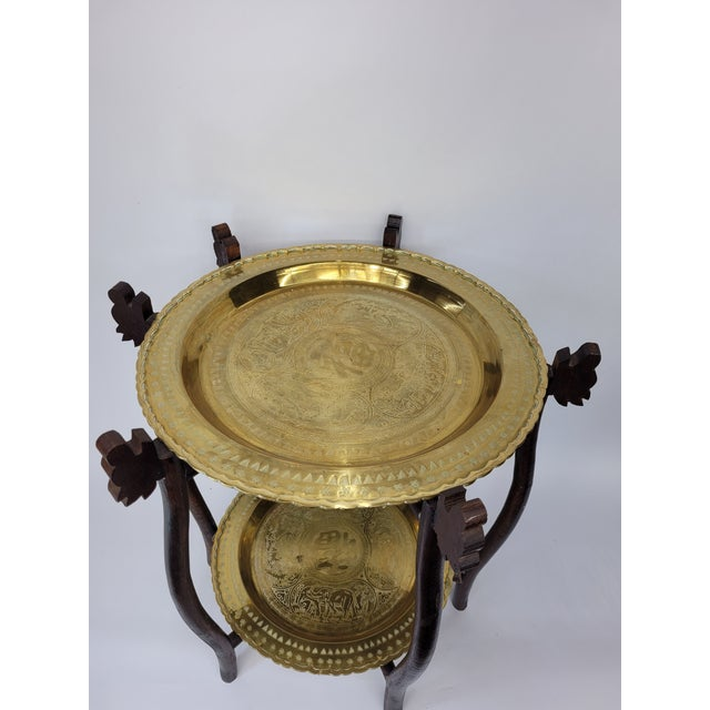 Vintage Asian 2 Tier Brass Tea Table with Engraved Elephants, Deer, and Birds For Sale - Image 4 of 9