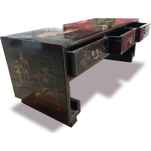 Vintage Chinoiserie Ming Lacquered Kang Coffee Table For Sale - Image 4 of 11