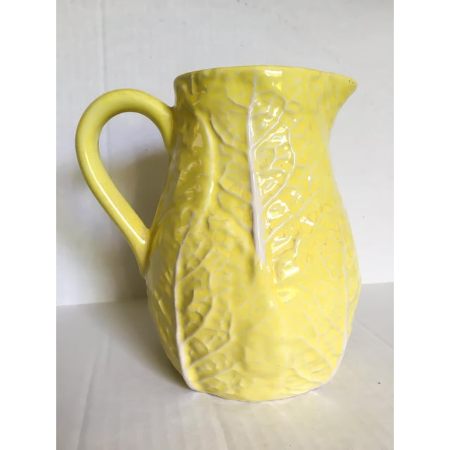 Yellow Majolica Cabbage Leaf Pitcher - Image 2 of 8
