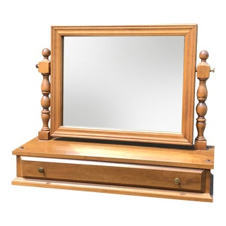 Vintage Maple Dresser Top Vanity Mirror For Sale