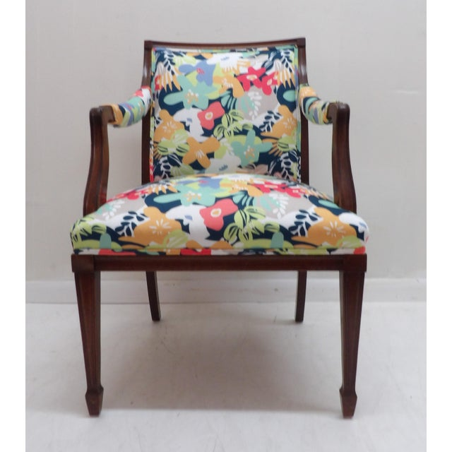 Wood Colorful Upholstery Bold Accent Side Arm Chair For Sale - Image 7 of 7