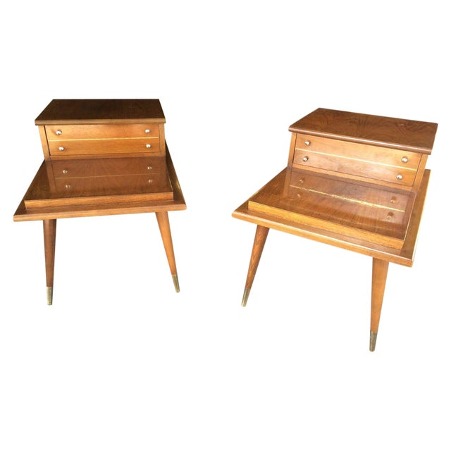 Mid-Century Step Side Tables - A Pair For Sale