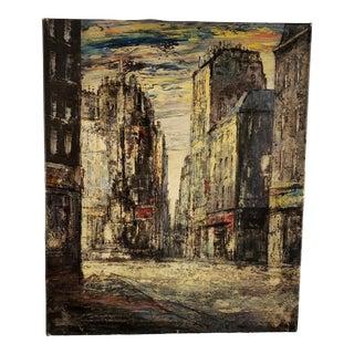 Vintage Mid-Century Hagenaar Amsterdam Street Scene Oil on Canvas Painting For Sale