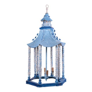 Vintage Brighton Blue/White Chinoiserie Pagoda Ceiling Lantern Chandelier