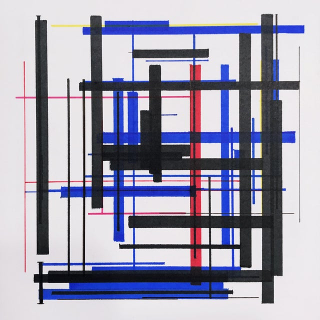 """Abstract Abstract """"Arrangement in Red, Yellow, Blue, and Black"""" Drawing by Brandon Woods For Sale - Image 3 of 3"""