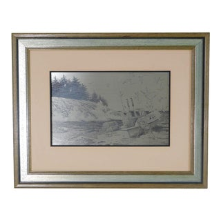 Coast of Maine Custom Framed Sterling Silver Etching by Jamie Wyeth For Sale
