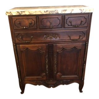 French Provincial Marble-Top Carved Walnut Cabinet For Sale
