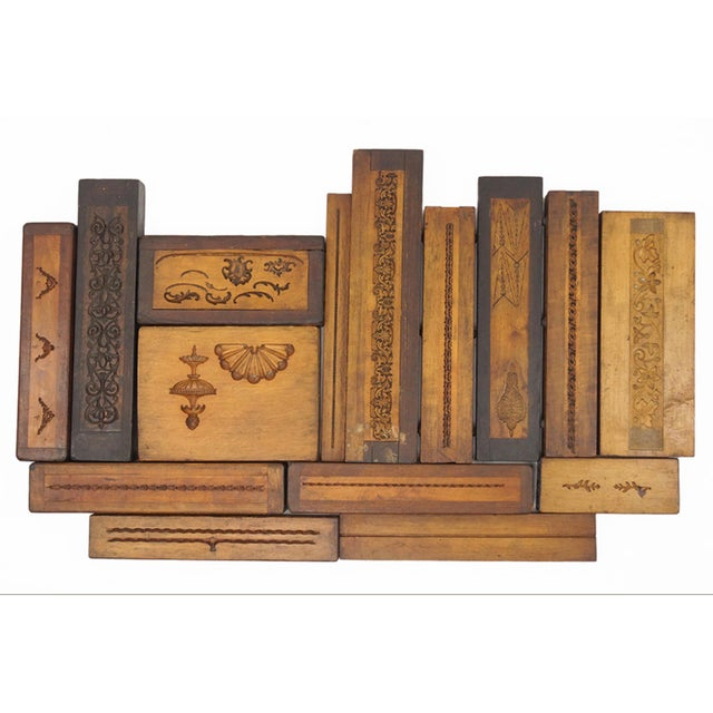 Abstract Collection of 50 19th Century Carved Wood Molds for Castings For Sale - Image 3 of 5