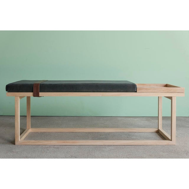 Ebb and Flow Tray Bench in Charcoal Grey For Sale In New York - Image 6 of 6