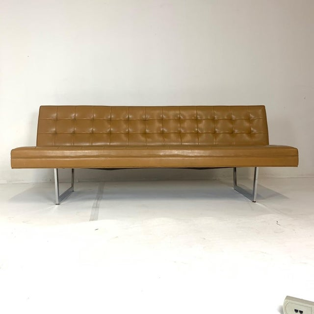Patrician Mid-Century Steel Sled Base Saddle Naugahyde Tufted Gallery Sofa For Sale In New York - Image 6 of 8